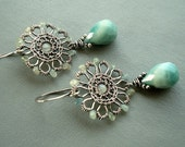 Aquamarine earrings - Wire Wrapped Earrings - Blue earrings - Turquoise  earrings - Amazonite earrings - Wire wrapped jewellery -