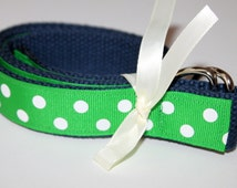 Womens Green Belt Polka Dot Belt Ladies Ribbon Belt Green Navy Blue D Ring Preppy Green Belt PluS Size Belt Ladies Ribbon Belt for Teens