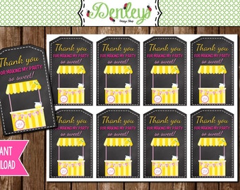 INSTANT DOWNLOAD: Lemonade Thank You Favor Tags (LS03)