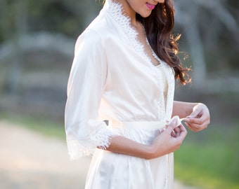 Silk Satin and Lace Robe-Lightest Shade of Blush pink silk satin, off white alencon lace trim.