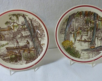 Vernon Kilns Plates Bits of The Old South - The Old Mill and Cypress Swamp