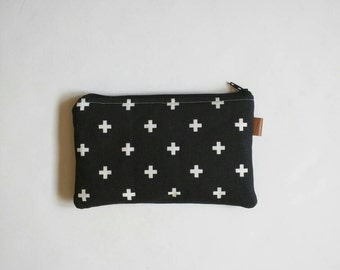 Swiss cross in black and white coin purse