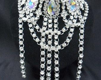 Party Showgirl Vegas Drag Cabaret Royal blue Crystal Necklace
