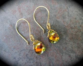 Swarovski Golden Sahara briolette earrings 14K Vermeil NEW COLOR  Wedding Jewelry Prom Jewelry
