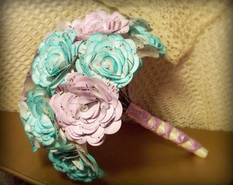 Small bridesmaids bouquet or 'throwing' bouquet made with vintage music paper. Choose your color
