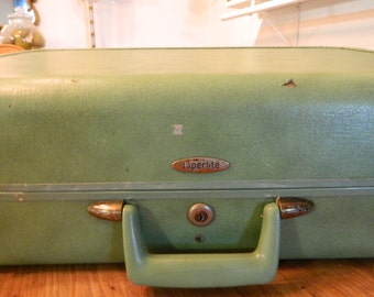 Vintage Luggage Suitcase Seafoam Green Travel Taperlite Suitcase
