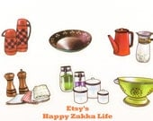 Kitchen - Translucent Flake Sticker Set - 6 Designs - 30 Pcs