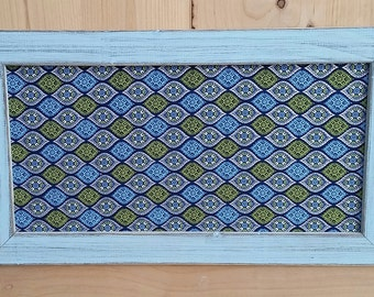 magnet board,memo board,  blue green and silver, fabric magnet board, 19x11