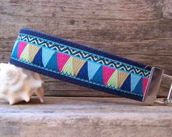 Key Fob / wristlet made with a beautiful blue Amy Butler ribbon , navy blue key fob , wristlet , for your keys.