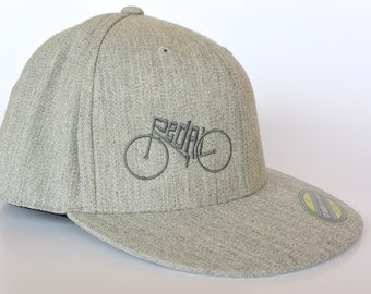 Bicycle Hat-PEDAL-Flat Bill Hat-Heather Grey- Cyclist gift, Bicycle gift, Mountain bike, Road bike, Fixie Hat, Bicycle cap