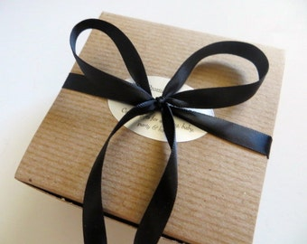 Premium Gift Wrap with Gift Card, Black Satin Ribbon, Select Medallion Sparkle Tissue or Black Dot Tissue