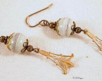 SALE Victorian Style Earrings,  Estate Style Earrings,  Lampwork Glass Dangling Beaded Pierced or Clip-on Earrings. CKDesigns.us