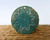 Verdigris Copper Pendant, 23mm OD, Embossed Copper Flower Pattern  Lot 6, Ready to Ship