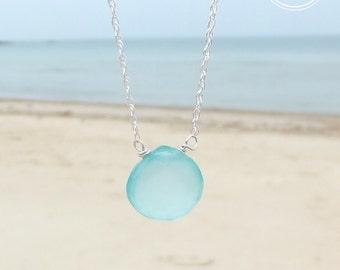 Aqua Chalcedony Necklace. Sea blue jewellery. Gemstone necklace. Chalcedony pendent.