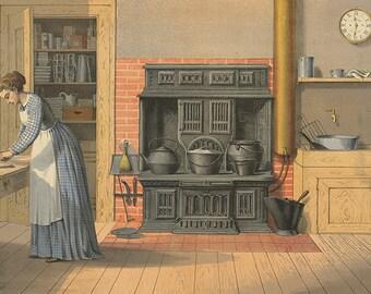 Antique Kitchen vintage illustration, digital download