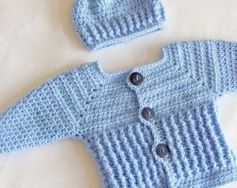Baby Sweater Set, Newborn Baby Boys Sweater, Handmade Baby Sweater Set, Newborn Sweater and Hat