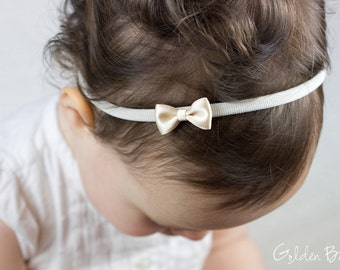Little Champagne Baby Bow - Little Satin Champagne Bow Handmade Headband - Flower Girl Headband - Fits From Babies to Adults - Golden Beam