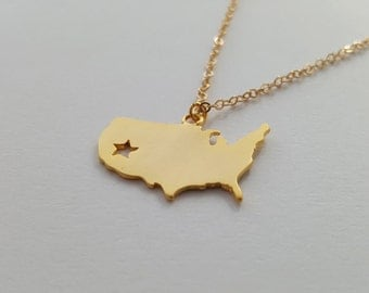 40% OFF, USA gold necklace, America necklace, Gold necklace, States necklace, America pendant necklace,Pendant necklace,Gift,Simple necklace