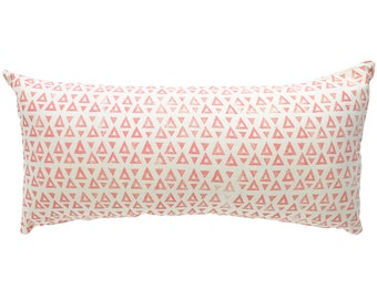 SEEKER rectangular cushion cover in Pink on hemp/organic cotton