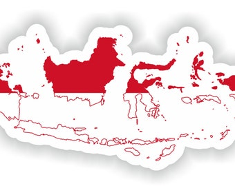 Indonesia Map Flag Silhouette Sticker for Laptop Book Fridge Guitar Motorcycle Helmet ToolBox Door PC Boat