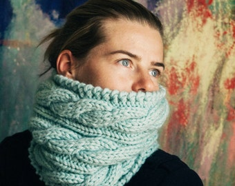 Hand knit chunky cowl scarf mint infinity cable scarf - ready to ship