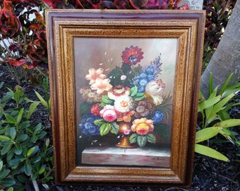 Vintage Oil Painting, M Aaron, Signed, Original Artwork, Canvas, Framed Oil Painting, Flower/Floral Bouquet, Still Life Artist M Aaron
