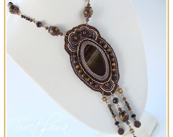 Bead embroidered necklace pendant  with the beautiful brown Agate and Tiger eye gemstones Fashion Handmade jewelry