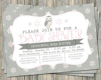Winter Owl baby shower invitation, typography baby shower invitation, snowflakes, gray, white, pink, digital, printable file