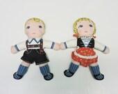 Vintage Hansel and Gretel Fairy Tale Cloth Dolls Fabric Hand Sewn Boy Girl