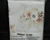 Vintage Pequot NIP Standard Pillowcases White Pink Brown Floral Luxury Muslin NEW Springs Mills 70s