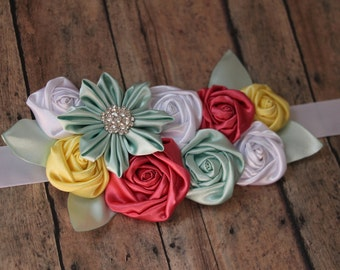 Kanzashi flower and rosette sash for maternity bridal photo prop photography