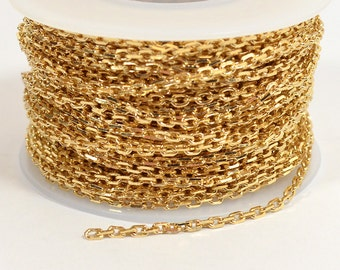 Rectangle Cable Chain - Gold Plated - 2mm x 3mm Links - CH157 - Choose Your Length