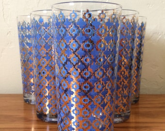 Vintage Mid Century Blue Gold Highball Glasses Set of 6, Mad Men Style Tumblers, Cocktail Barware