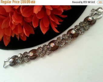 Now On Sale Retro Rhinestone Bracelet * Statement Vintage Jewelry * Old Hollywood Glamour * Mad Men Mod * 1950's 1960's