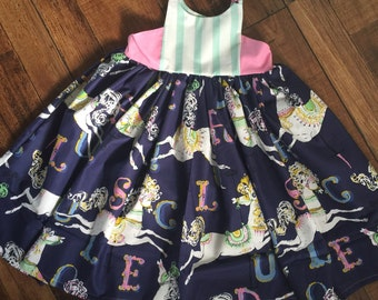 Baby girl navy blue mint and pink carousel hourglass top dress with braided straps