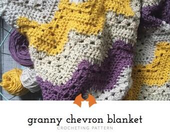 Crochet Chevron Blanket Pattern, Crochet Baby Blanket Pattern, Crochet Granny Chevron Blanket Pattern, Crochet Striped Blanket Tutorial