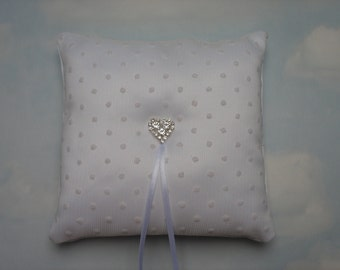 White ring bearer pillow. White ring cushion. Polka dot wedding.