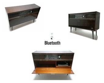 Mid Century Modern Grundig Stereo Console Record Changer - FM Tuner - Bluetooth Restored