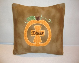 Fall Pumpkin Cross Throw Pillow Cover 14 By 14 Size Machine Embroidered