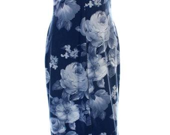 Vintage 90s Blue Floral Midi Front Split Grunge Crossover Dress UK 10 US 8