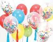 Confetti Balloons with Tissue Tassel and Baker's Twine Set Birthday Balloons Balloon Bouquet Kit Balloon Set Tissue Confetti Tissue Tassels