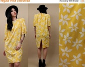 15% OFF 1DAY SALE 80s Vtg Emanuel Ungaro Genuine SiLk Canary Yellow Sheath Dress / Bow Sleeve + PiNwheel Print Floral Spring - Summer Design