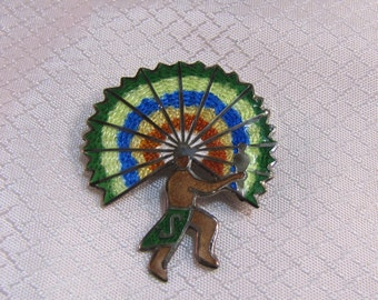 c1950' Jose Fredrico Enamled Sterling Warrior with Full Headress Brooch