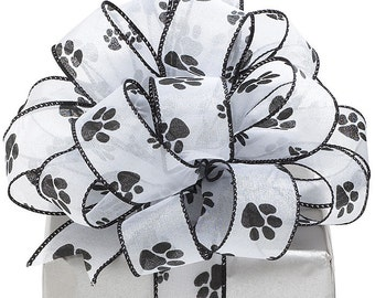 "5YDS x 1-1/2"" Iridescent White & Black Wired Edge PAW PRINT Sheer Ribbon"