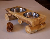 Kitty cafe - Cat feeder - Log decor - Elevated feeder - Pet feeder - Rustic home decor