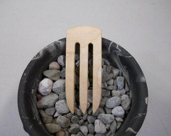 3 prong figured maple wood hair fork