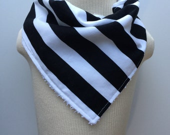 Trendy Black and White Stripe Boy/Girl Bandana Bib