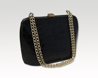Vintage, Black Crocodile Leather Shoulder Bag, Handbag, Mad Men Bag, Purse 1960's