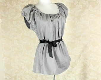 "Grey Cotton Willow Chemise -- Sz. XL -- Fits Bust 44""-48"" --  Ready to Ship"
