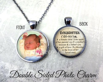 Custom Photo Daughter Necklace - Personalized Double Sided Daughter Jewelry - Daughter Dictionary Definition Key Chain Charm - Daughter Gift